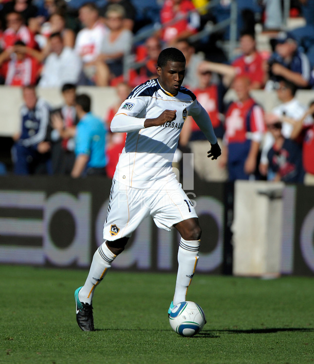 LA Galaxy forward Edson Buddle (14) dribbles the ball.  The LA Galaxy tied the Chicago Fire 1-1 at Toyota Park in Bridgeview, IL on September 4, 2010