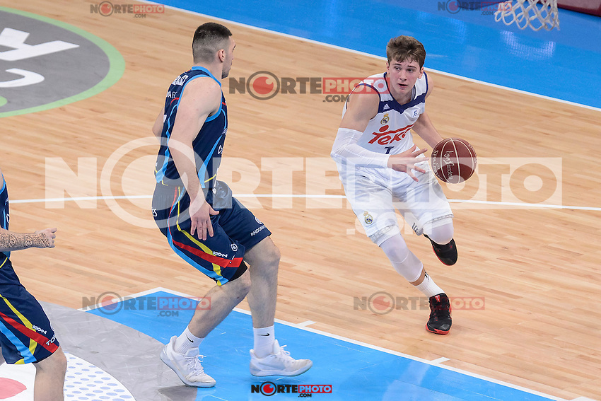 Real Madrid's Luka Doncic and Morabanc Andorra's Beka Burjanadze during Quarter Finals match of 2017 King's Cup at Fernando Buesa Arena in Vitoria, Spain. February 16, 2017. (ALTERPHOTOS/BorjaB.Hojas) /Nortephoto.com
