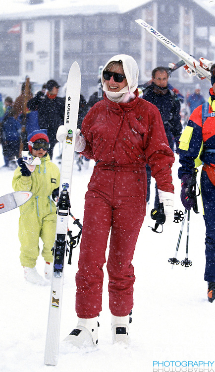 Diana, The Princess of Wales sking in Lech, Austria during an annual ski holiday with her sons, Prince William, and Prince Harry