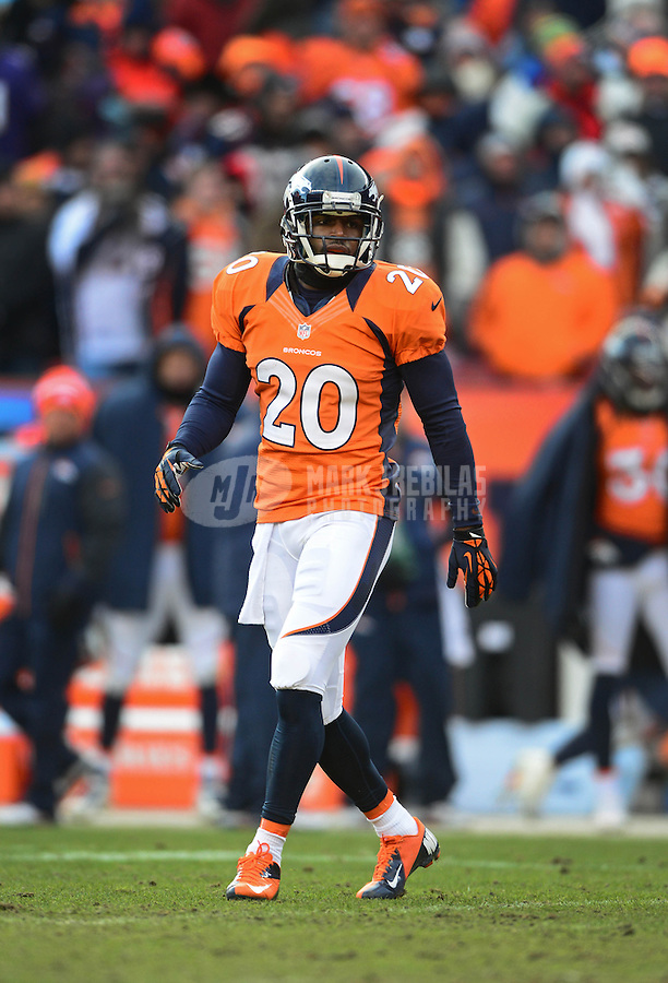 Jan 12, 2013; Denver, CO, USA; Denver Broncos safety Mike Adams (20) against the Baltimore Ravens during the AFC divisional round playoff game at Sports Authority Field.  Mandatory Credit: Mark J. Rebilas-
