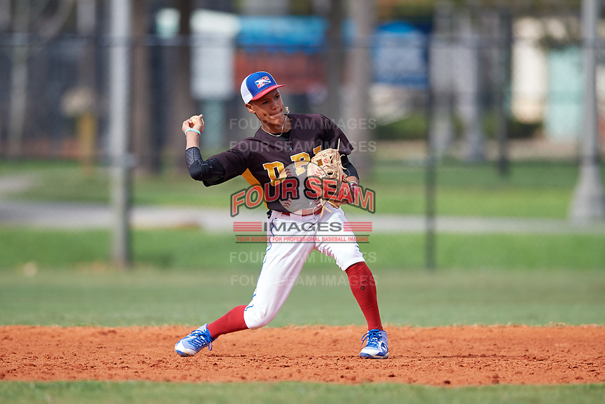Santiago Ramirez (4) during the Dominican Prospect League Elite Florida Event at Pompano Beach Baseball Park on October 15, 2019 in Pompano beach, Florida.  (Mike Janes/Four Seam Images)