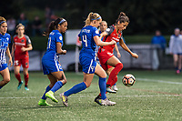 Boston, MA - Sunday September 10, 2017: Margaret Purce, Megan Oyster and Nadia Nadim during a regular season National Women's Soccer League (NWSL) match between the Boston Breakers and Portland Thorns FC at Jordan Field.