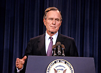 ***FILE PHOTO*** George H.W. Bush Has Passed Away<br /> United States President-elect George H.W. Bush announces he has named retired Admiral James D. Watkins as Secretary of Energy and former Secretary of Education William J. Bennett to the newly created position of &quot;Drug Czar&quot; to coordinate the Federal Government's war on drugs, in Washington, D.C. on January 12, 1989.<br /> CAP/MPI/RS<br /> &copy;RS/MPI/Capital Pictures