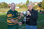 Pukekohe Captain Kevin Farrell receives the McNamara Cup from Counties Power CEO Neil Simmonds. Counties Manukau Club Rugby McNamara Cup Premier Final game between Pukekohe and Patumahoe played at Bayer Growers Stadium, Pukekohe, on Saturday July 2nd 2011. Pukekohe won the T.P. McNamara Cup 35 - 11 after leading 14 - 3 at halftime.