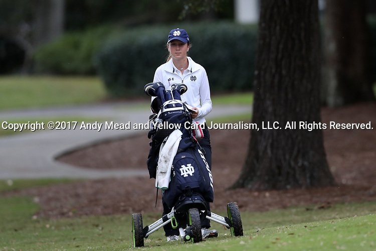 WILMINGTON, NC - OCTOBER 28: Notre Dame's Abby Heck on the 10th tee. The second round of the Landfall Tradition Women's Golf Tournament was held on October 28, 2017 at the Pete Dye Course at the Country Club of Landfall in Wilmington, NC.
