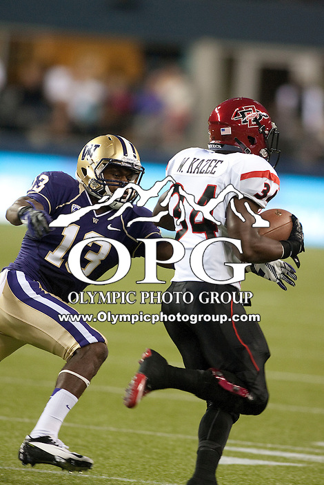 Sept 01, 2012:  Washington's Will Shamburger against San Diego State.  Washington defeated San Diego State 21-12 at CenturyLink Field in Seattle, Washington...