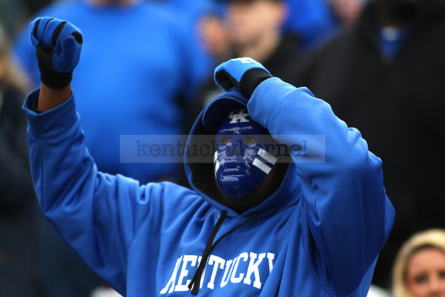 A fan of the Kentucky Wildcats during the first half of the game against the Louisville Cardinals at Papa Johns Cardinals Stadium on Saturday, November 29, 2014 in Louisville, Ky. Louisville leads Kentucky 21-13. Photo by Michael Reaves | Staff