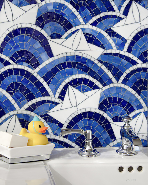 Fleet, shown in Lapis Lazuli, Iolite, Absolute White, and Moonstone jewel glass, is part of the Kiddo™ Collection by Cean Irminger for New Ravenna.