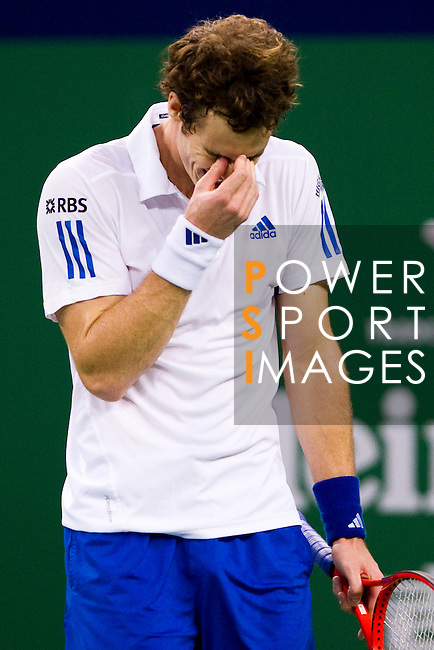 SHANGHAI, CHINA - OCTOBER 14:  Andy Murray of Great Britain reacts during his match against Jeremy Chardy of France during day four of the 2010 Shanghai Rolex Masters at the Shanghai Qi Zhong Tennis Center on October 14, 2010 in Shanghai, China.  (Photo by Victor Fraile/The Power of Sport Images) *** Local Caption *** Andy Murray