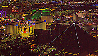 aerial photograph night time Luxor Resort and Casino, Las Vegas, Clark County, Nevada