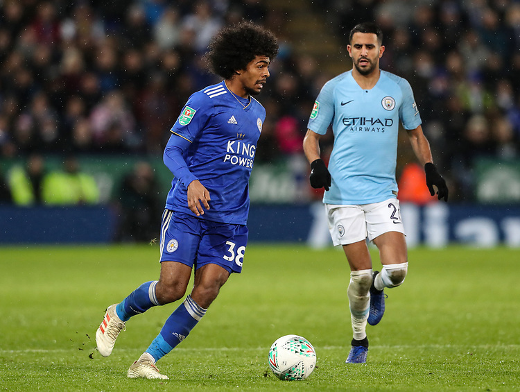 Manchester City's Riyad Mahrez looks on as Leicester City's Hamza Choudhury breaks<br /> <br /> Photographer Andrew Kearns/CameraSport<br /> <br /> English League Cup - Carabao Cup Quarter Final - Leicester City v Manchester City - Tuesday 18th December 2018 - King Power Stadium - Leicester<br />  <br /> World Copyright © 2018 CameraSport. All rights reserved. 43 Linden Ave. Countesthorpe. Leicester. England. LE8 5PG - Tel: +44 (0) 116 277 4147 - admin@camerasport.com - www.camerasport.com