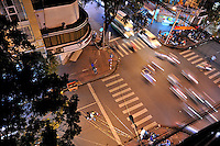 Aerial view of evening traffic, Ho Chi Minh City (Saigon), Vietnam
