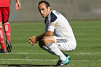 LA Galaxy midfielder Landon Donovan ponders over his PK. The Chicago Fire beat the LA Galaxy 3-2 at Home Depot Center stadium in Carson, California on Sunday August 1, 2010.