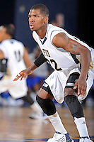 12 January 2012:  FIU guard Jeremy Allen (32) defends in the second half as the Middle Tennessee State University Blue Raiders defeated the FIU Golden Panthers, 70-59, at the U.S. Century Bank Arena in Miami, Florida.