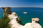 Pictured Rocks Boat Cruise touring by Miner's Castle, part of the Pictured Rocks National Lakeshore during Labor day weekend 2008