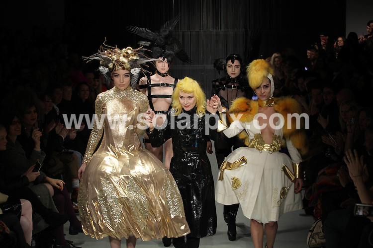 **ALL ROUND PICTURES FROM SOLARPIX.COM**                                             **NO UK NEWSPAPER PUBLICATION**.**UK MAGAZINE & SUPPLEMENT PUBLICATION ONLY** AND NO PUBLICATION IN AUSTRALIA, BELGIUM, FRANCE, GERMANY, ITALY, SCANDINAVIA AND USA**                                                                                  Caption: The Pam Hogg catwalk show at London Fashion Week 2011, London, UK. 20 February 2011                                                                              This pic: Daisy Lowe and Pam Hogg                                                                                     JOB REF: 12850 SFE       DATE: 20_02_2011                                                           **MUST CREDIT SOLARPIX.COM OR DOUBLE FEE WILL BE CHARGED**                                                                      **MUST AGREE FEE BEFORE ONLINE USAGE**                               **CALL US ON: +34 952 811 768 or LOW RATE FROM UK 0844 617 7637**