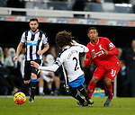 Fabrizo Coloccini of Newcastle United appears to go in on Jordon Ibe of Liverpool with both feet - English Premier League - Newcastle Utd vs Liverpool - St James' Park Stadium - Newcastle Upon Tyne - England - 6th December 2015 - Picture Simon Bellis/Sportimage