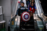 New York City, NY. 10 October 2014. A raveler take part during the 2014 New York Comic Con fair at the Jacob Javits Center. Photo by Kena Betancur/VIEWpress