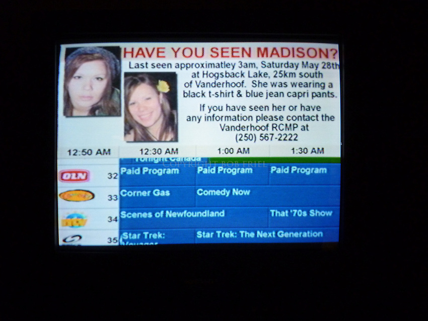 Cable scroll in Vanderhoof showing Madison Scott