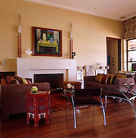 The large fireplace in the living room was constructed from Egyptian stone by local craftsmen