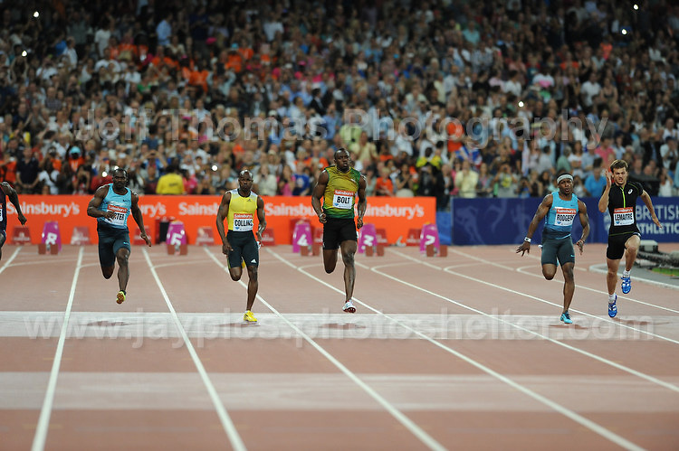 The Mens 100m race at the Sainsbury Anniversary Games, Olympic Stadium, London England, Friday 26th July 2013-Copyright owned by Jeff Thomas Photography-www.jaypics.photoshelter.com-07837 386244. No pictures must be copied or downloaded without the authorisation of the copyright owner.