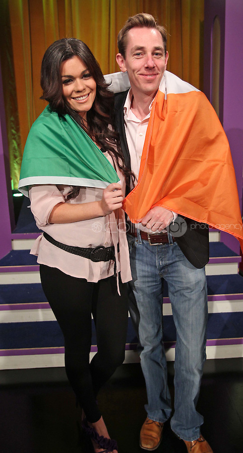 10/02/'11 Ryan Tubridy pictured this afternoon at RTE Studios with Nikki Kavanagh, one the five acts which make up this years hopefulls for Ireland's entry to the Eurosong 2011 Contest. The five acts will perform on tomorrow night's Late Late show ..Picture Colin Keegan, Collins, Dublin.