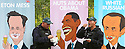 English Police Officers eat ice cream between advert posters showing (L-R) British Prime Minister David Cameron, US President Barack Obama and Russian President Vladimir Putin, at a petrol station close to the G8 Summit in Lough Erne, Northern Ireland, Britain, 18 June 2013. Leaders from Canada, France, Germany, Italy, Japan, Russia, USA and UK are meeting at Lough Erne in Northern Ireland for the G8 Summit 17-18 June. The leaders were holding their second and final day of talks on 18 June, with the global economy and tax avoidance high on the agenda.  Photo/Paul McErlane