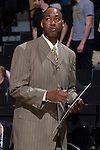 Wake Forest Demon Deacons head coach Danny Manning draws up a play prior to the game against the UNC Asheville Bulldogs at the LJVM Coliseum on November 14, 2014 in Winston-Salem, North Carolina.  The Demon Deacons defeated the Bulldogs 80-69  (Brian Westerholt/Sports On Film)