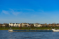 Barge On Rhine river,  Dusseldorf, Germany