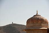 Jaipur, India. Battlements of Amber Fort.