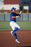 AZL Cubs 2 third baseman Fidel Mejia (17) during an Arizona League game against the AZL Reds at Sloan Park on June 18, 2018 in Mesa, Arizona. AZL Cubs 2 defeated the AZL Reds 4-3. (Zachary Lucy/Four Seam Images)
