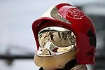 01.09.2018, Autodromo di Monza, Monza, FORMULA 1 GRAN PREMIO HEINEKEN D'ITALIA 2018<br />,im Bild<br />Sebastian Vettel (GER#5), Scuderia Ferrari spiegelt sich im Visier eines Feuerwehrmannes<br /> <br /> Foto &copy; nordphoto / Bratic