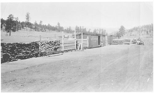 Cimarron &amp; Northwestern RR (C&amp;N) cars used for lumber loading at Ponil Park sawmill.  Looking northwest.<br /> Continental Tie &amp; Lumber Co.  Ponil Park, NM