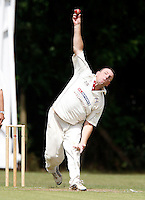 Tony Duckett bowls for Highgate during the Middlesex County Cricket League game between Highgate and North London at Park Road, Crouch End on Sat July 31, 2010.