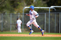 South Dakota State Jackrabbits Braeden Brown (32) rounds the bases after hitting a home run during a game against the FIU Panthers on February 23, 2019 at North Charlotte Regional Park in Port Charlotte, Florida.  South Dakota State defeated FIU 4-3.  (Mike Janes/Four Seam Images)