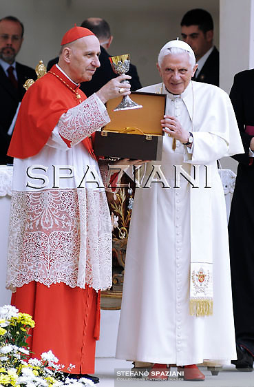 Pope Benedict XVI Cardinal Poletto, during the Holy Mass on 02 May 2010 in San Carlo's square in Turin, Italy, for the Holy Shroud, the sheet which, according to tradition, wrapped the body of Jesus in the tomb in Jerusalem.