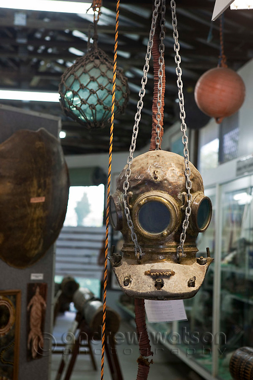 Pearl diving helmut and exhibit at the Torres Strait Heritage Museum.  Horn Island, Torres Strait Islands, Queensland, Australia