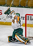 9 February 2018: University of Vermont Catamount Goaltender Sydney Scobee, a Sophomore from Minnetrista, MN, makes a third period save, on her way to a shutout against the University of Connecticut Huskies at Gutterson Fieldhouse in Burlington, Vermont. The Lady Cats defeated the Huskies 1-0 the first game and tied the second game 0-0 of their weekend Hockey East series. Mandatory Credit: Ed Wolfstein Photo *** RAW (NEF) Image File Available ***