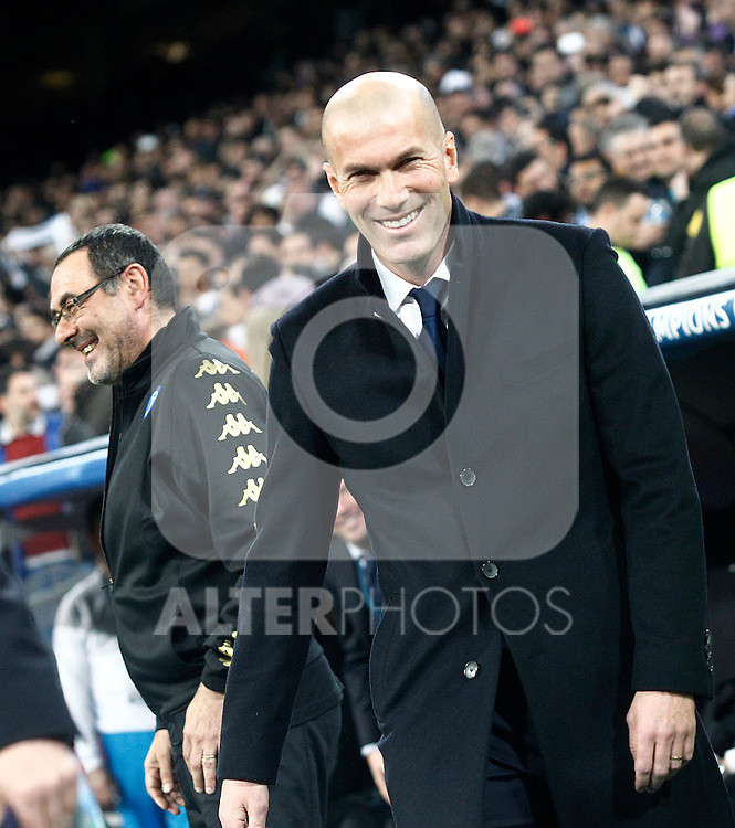 Real Madrid's coach Zinedine Zidane (r) and SSC Napoli's coach Maurizio Sarri during Champions League 2016/2017 Round of 16 1st leg match. February 15,2017. (ALTERPHOTOS/Acero)
