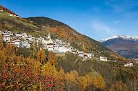 Italy, South-Tyrol (Alto Adige - Trentino), Vinschgau (Val Venosta), Stelvio: at passroad to Passo dello Stelvio, at background snowcapped summits of Oetztal Alps   Italien, Suedtirol, Vinschgau, Stilfs: an der Pass-Strasse zum Stilfser Joch gelegen, dahinter die schneebedeckten Gipfel der Oetztaler Alpen