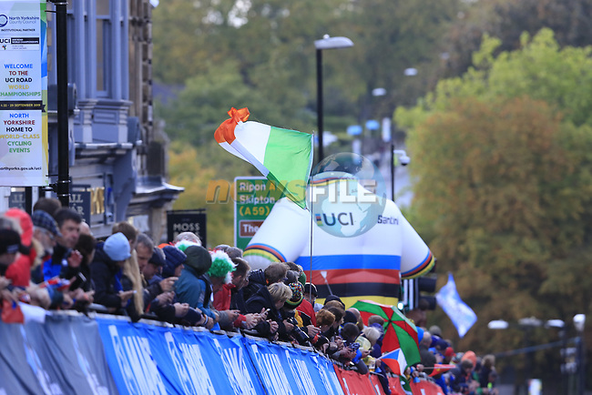 Irish flag on the Harrogate circuit during the Men U23 Road Race of the UCI World Championships 2019 running 186.9km from Doncaster to Harrogate, England. 27th September 2019.<br /> Picture: Eoin Clarke | Cyclefile<br /> <br /> All photos usage must carry mandatory copyright credit (© Cyclefile | Eoin Clarke)
