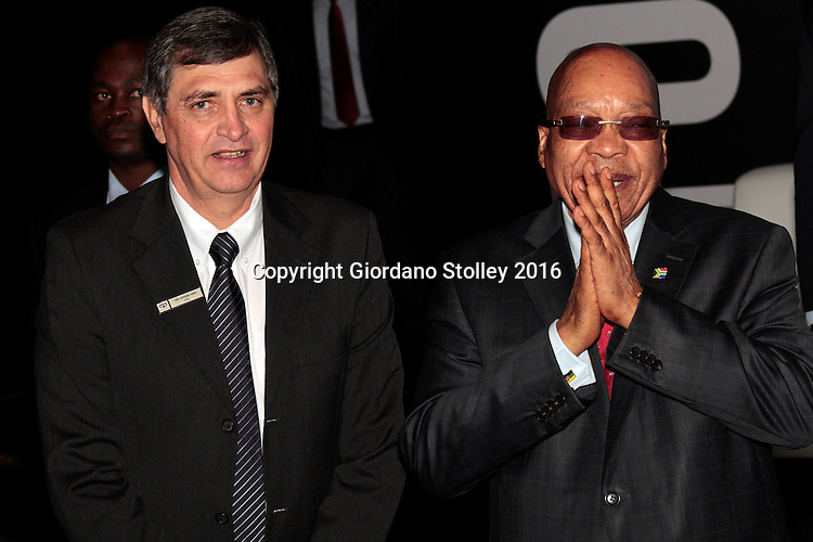 DURBAN - 24 May 2016 - South African president Jacob Zuma (right) shares a joke with Johan van Zyl, chairman of Toyota in South Africa, following a presentation during the official launch by Toyota of its new Hilux and Fortuner ranges at its plant in Durban. Picture: Allied Picture Press (APP)
