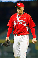 Relief pitcher Matt Creel #43 of the Houston Cougars leaves the field after being taken out of the game against the Kentucky Wildcats at Minute Maid Park on March 5, 2011 in Houston, Texas.  Photo by Brian Westerholt / Four Seam Images