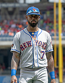 New York Mets shortstop Jose Reyes (7) walks to the dugout at the end of the sixth inning against the Washington Nationals at Nationals Park in Washington, D.C. on Wednesday, August 1, 2018.  The Nationals won the game 5 - 3.<br /> Credit: Ron Sachs / CNP<br /> (RESTRICTION: NO New York or New Jersey Newspapers or newspapers within a 75 mile radius of New York City)
