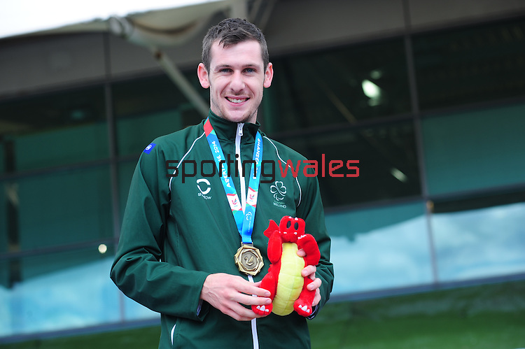 IPC European Athletics Championship 2014<br /> Swansea University<br /> <br /> Medal ceremony: Men's 1500m T38.  <br /> Gold medal: Michael McKillop (IRL)<br /> Silver medal: Louis Radius (FRA)<br /> Bronze medal - Dean Miller (GBR)<br /> <br /> 23.08.14<br /> Chris Vaughan-SPORTINGWALES