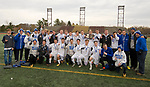 NEW BRITAIN, CT-111817JS03- Lewis Mills' team poses for a photo following their  3-2 win over Suffield to capture the Class M state title Saturday at Willow Brook Park in New Britain.<br /> Jim Shannon Republican-American