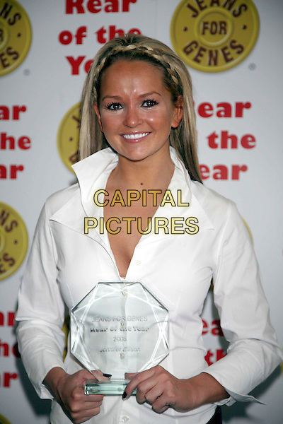 JENNIFER ELLISON.Rear Of The Year Award 2008,  Dorchester, London, England..In support of Jeans for Genes .September 10th, 2008.half length award trophy white shirt  braid plait .CAP/DS.©Dudley Smith/Capital Pictures