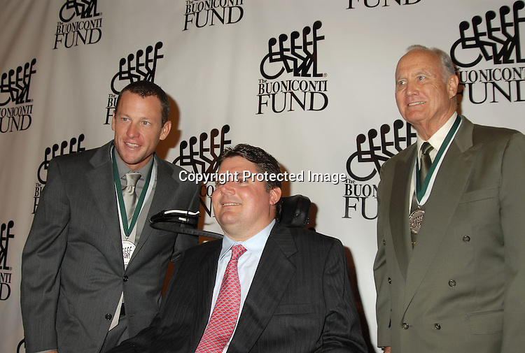 Lance Armstrong, Marc Buoniconti and General H Norman..Schwarzkopf..at The 21st Annual Great Sports Legends Dinner ..Benefitting The Buoniconti Fund to Cure Paralysis..at The Waldorf Astoria on September 19, 2006. ..The honorees were Lance Armstrong, Patrick Ewing, ..Tony Hawk, Wade Boggs, Dean Smith and Michael Irvin, Michael Chang and Beverly Kearney. ..Robin Platzer, Twin Images