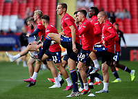 Nottingham Forest warm up ahead of kick-off during Charlton Athletic vs Nottingham Forest, Sky Bet EFL Championship Football at The Valley on 21st August 2019