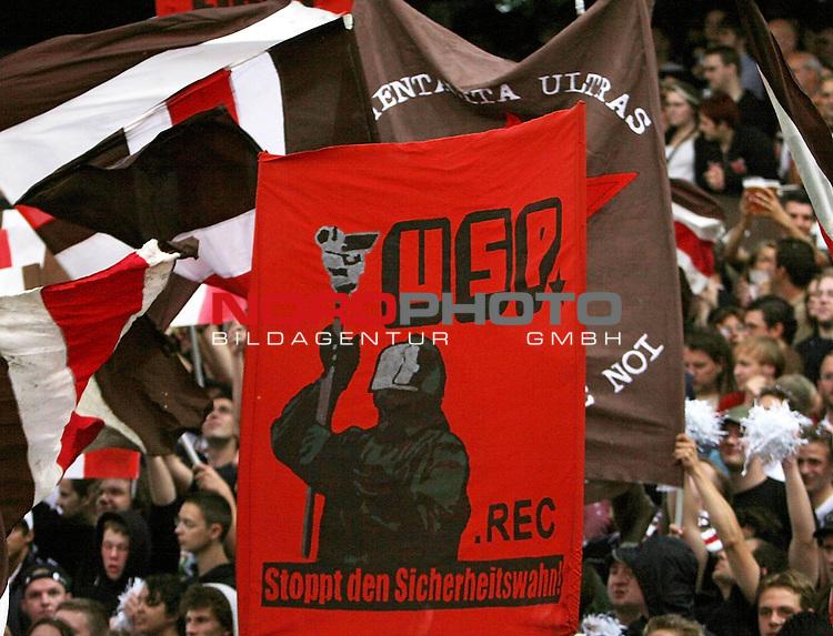 2.Liga 2007/2008  1. Spieltag Hinrunde<br /> FC St.Pauli &ndash; vs. 1.FC Koeln 0:2<br /> <br /> Fans des FC St.Pauli demonstrieren mit einer Blockfahne &quot;Stoppt den Sicherheitswahn&quot; gegen den deutschen Ueberwachungsstaat.<br /> <br /> <br /> Foto &copy; nph (nordphoto)<br /> <br /> *** Local Caption ***
